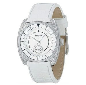 DKNY women's white leather water silver